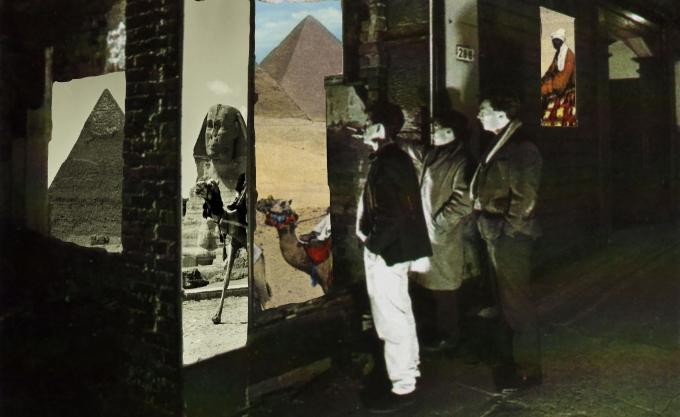 Montage-photo d'après la pochette de A Walk Across The Rooftops